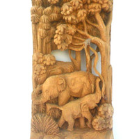 "Hand Carved Elephant Wood Carving Elephants Natural Teak Wood Elephant Handmade Wooden Elephant Art Home Decor / Gift 12.5""x6""x2"""