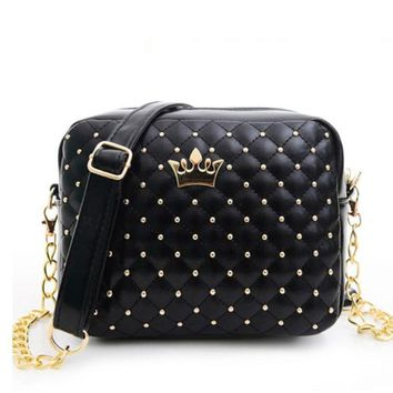 Lady PU Leather Spring Colors Quilted Rivets Box Crossbodys