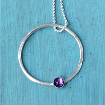 Amethyst necklace, sterling silver eternity necklace, February birthstone, circle of love, purple gemstone necklace, handmade