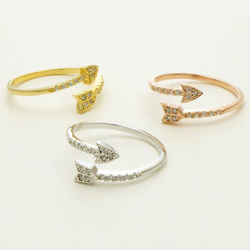 Cubic Arrow Ring / Silver, Gold / Adjustable Ring / R0061