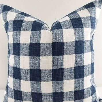 Italian Denim Blue & White Buffalo Plaid Print Farmhouse Pillow Cover.