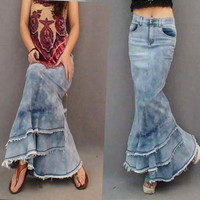 New 2013 Fashion Long Denim Ball Gown Skirt For Women Slim Patchwork Tassel Mermaid High Waist Skirt = 1930055044