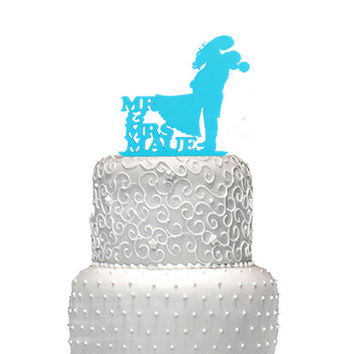 Wedding cake topper,  Turquoise cake top, bride and groom wedding cake top,  acrylic wedding cake top,  silhouette wedding cake topper