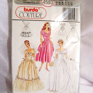 Burda Wedding Dress Pattern: Uncut Couture Sewing Pattern 4593, Sizes 8 to 18