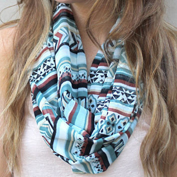 Chevron Scarf Infinity Scarf Circle Scarf Eternity by PoePoePurses