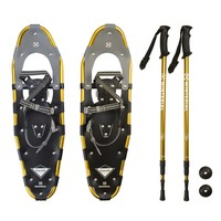 Winterial Highland 30-Inch Snowshoes, Gold, for Rolling Terrain, Includes Poles and Carry Bag