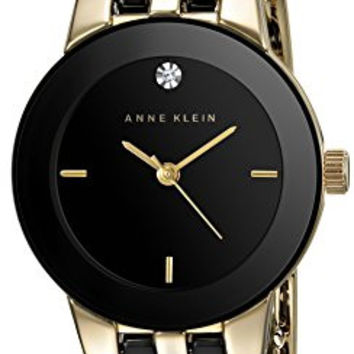 Anne Klein Women's AK/1610BKGB Diamond Dial Gold-Tone and Black Ceramic Bracelet Watch