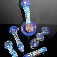 5 Piece Blue Color Changing Glass Pipes Assortment Matching Gift Set - FREE SHIPPING - Stand Up Sphere, Twisted Pipe, 2 Spoons & Chillum