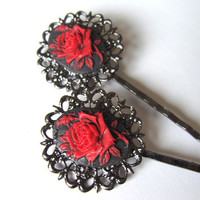 Gothic Red Rose Cameo Bobby Pins Set of 2 Red on Black Filigree Bobby Pins Fashion Hair Accessory