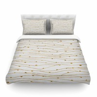 """888 Design """"Golden Stripes Pattern"""" Abstract Gold Featherweight Duvet Cover - Outlet Item"""