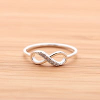 INFINITY ring with crystals,in silver (plated, 925 sterling) | girlsluv.it