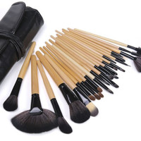 EFrank Pro 24 Pcs Makeup Brushes Cosmetic Set Kit + Soft Pouch Bag Case Superior Soft,24 Count Bursh set For Eye Shadow, Blush, Concealer, Etc(Wood Tube)