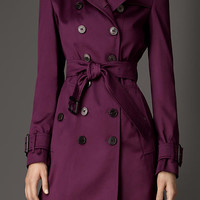 Mid-Length Cotton Sateen Trench Coat