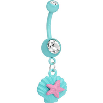 Crystalline Gem Aqua Seashell and Pink Starfish Dangle Belly Ring | Body Candy Body Jewelry