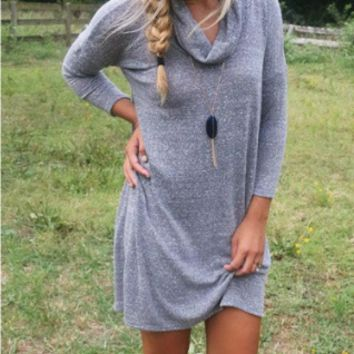 Grey Long Sleeved Turtleneck Dress