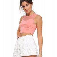 Sleeveless Mesh Cropped Tank Top