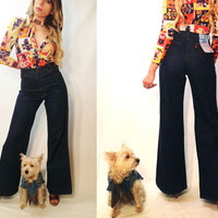 "Unworn Vintage 1970's Levi's Orange Tab 26-27 x 34 DEADSTOCK Rare Bell Bottoms || Size 4 Size 6 Size 26 Size 27 34"" Length"
