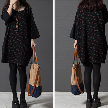 Women sweater, oversized sweater, floral dress, print dress, sweater dress, cotton dress, long sleeve dress, loose top, casual dress (ESR65)