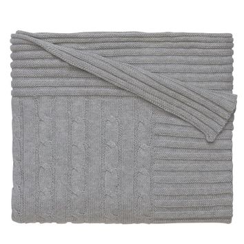 Personalized Classic Cotton Cable Knit Blanket (Grey)