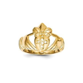 14k Yellow Gold AAA Diamond Claddagh Ring