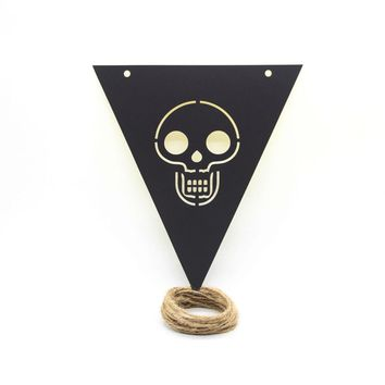 7pcs Pull Flags Pumpkin Hanging Spider Creative Skull 3.5M Triangle Festival Flag Props Banner for Party Halloween