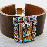 Leather Cuff Bracelet, Vintage Rhinestone Buckle, brown leather