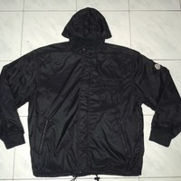 Vintage Moncler Reversible Fleece Nylon Black Hooded jacket