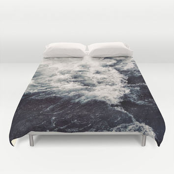 Duvet Cover, Ocean Beach Waves Nautical Bedding Cover, Coastal Surf Decorative Bedroom Decor, Home Decor, King, Queen, Full