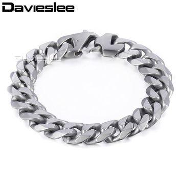 Davieslee Mens Chain Matte Brushed Polished Bracelet 316L Stainless Steel Cut Curb Cuban Link Silver Tone 14.5mm LHBM109