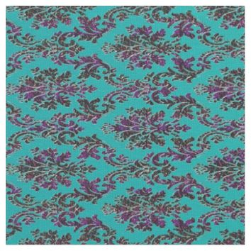 Colorful Damask Print on Teal Green Fabric