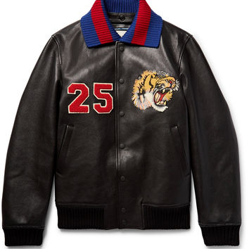 Gucci - Appliquéd Leather Bomber Jacket