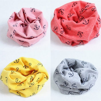 1Pcs Anchor Print Scarf Child Kids Girls Boys Baby Cotton Winter Scarves Neck Warmer = 1930010244