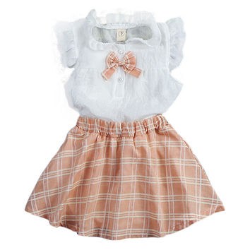 24M-6T Girls Clothing Sets 2017 Summer Girls Shirt+Plaid Skirt 2Pcs Sets Fashion Kids Clothes Casual Girls Clothes S
