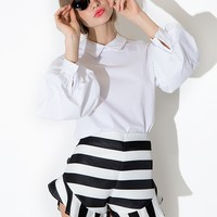 Woven Striped Ruffled Shorts