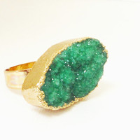 Green Gold Plated Druzy Ring, Druzy Drusy Crystal Quartz Adjustable  Gold Dipped Rings, Bohemian Gypsy Chic