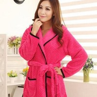 Women Tracksuit Cartoon Couple in Autumn and Winter Long-sleeved Coral Velvet Robe Bathrobe-rose Red