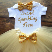 baby girl coming home outfit baby girl outfit newborn girl outfit brand sparkling new outfit gold glitter outfit newborn girl tutu outfit