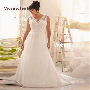 Vivian's Bridal Plus Size Wedding Dresses V Neck A Line Lace Appliques Chiffon Sweep Train Bridal Bride Wedding Gowns 2016 RQ09