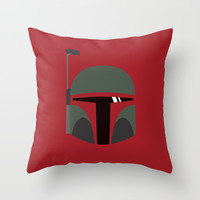 Star Wars Minimalism - Boba Fett Throw Pillow by Casa Del Kables