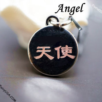 Angel Necklace Tiny Silver Necklace Delicate Chinese Character Initial Necklace