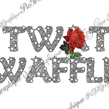 "Tw*t Waffle Coloring Page The swearing words ""Tw*t Waffle"" Doodles - 2 background white and black sweary word"