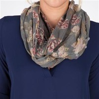 D&Y Juniors Rose Print Paneled Infinity Loop at Dry Goods