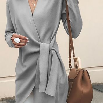 New York Morning Long Sleeve V Neck Cross Wrap Tie Belt Wool Blend Jacket Outerwear - 2 Colors Available
