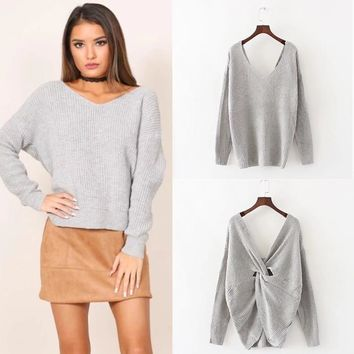 Knit Tops Winter Women's Fashion V-neck Sweater [31069011994]
