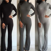 Slim Fit Long Long Sleeve Zipper Nightclub Clubbing Party Casual Party Playsuit Clubwear Bodycon Boho Dress Romper Trousers Pants _ 9067