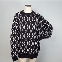 XL Vintage 80s 90s Cosby Sweater Black White / Black and White Diamond Sweater / 90s Graphic Sweater / 80s Graphic Sweater / Cotton Sweater