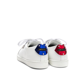 Saint Laurent Metallic Patch Court Classic Sneakers in Optic White, Red & Blue | FWRD