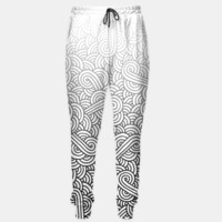 Gradient black and white swirls doodles Sweatpants, Live Heroes