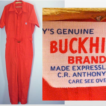 Mens 70s Coveralls / Red Mens Leisure Jumper / Mens Jumpsuit