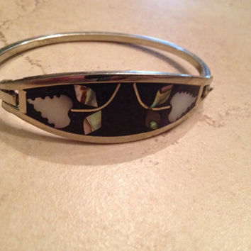 Vintage Mexican Bracelet Alpaca Silver Black Mother of Pearl Abalone Inlay Mexico Jewelry